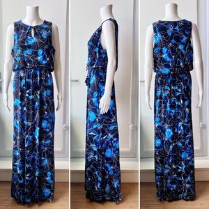 RW&CO. Blue and Black Floral Maxi Dress